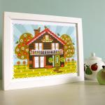 'Folk House' A4 Unframed Pr..