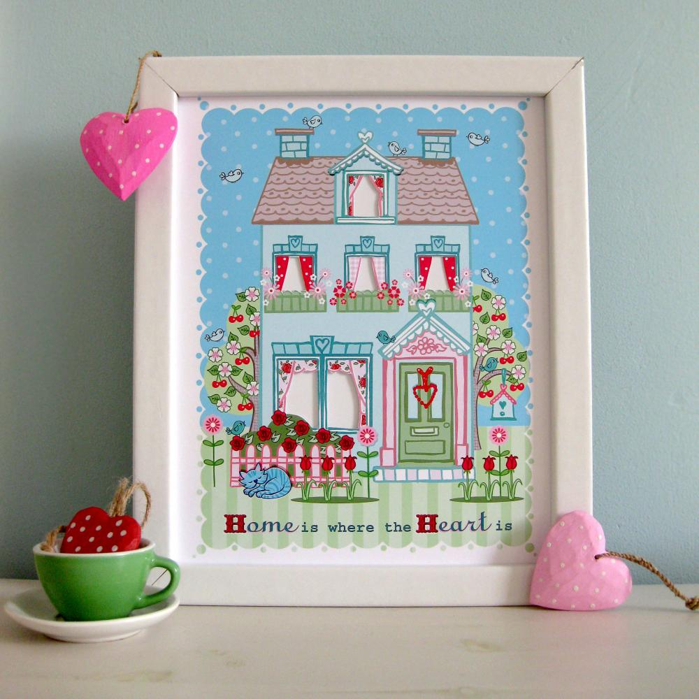 'Home is Where the Heart Is' A4 Unframed Print