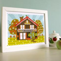 &#039;Folk House&#039; A4 Unframed Print