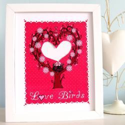 'Love Birds' A4 Unframed print with hand-cut photo aperture