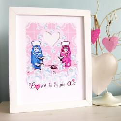 &#039;Love is in the Air&#039; A4 Unframed Illustration Print 