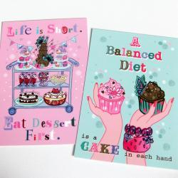 Pack of 2 A6 Postcard Prints &#039;Eat Dessert First&#039; &amp; &#039;Balanced Diet&#039;