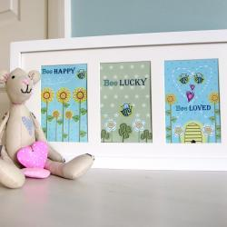 Pack of 3 A6 Postcard Prints &#039;Bee Happy&#039;, &#039;Bee Lucky&#039;, &#039;Bee Loved&#039;