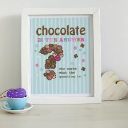 A4 Unframed Illustration Print 'Chocolate is the Answer'