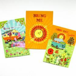 Pack of 3 A6 Postcard Prints 'Living the Dream' 'Bring Me Sunshine' 'Good Day Sunshine'